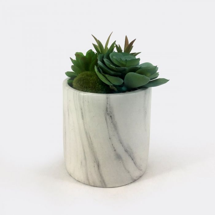 Artificial Succulents In Round Marble Pot