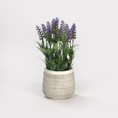 Artificial Lavenders in Cement Pot