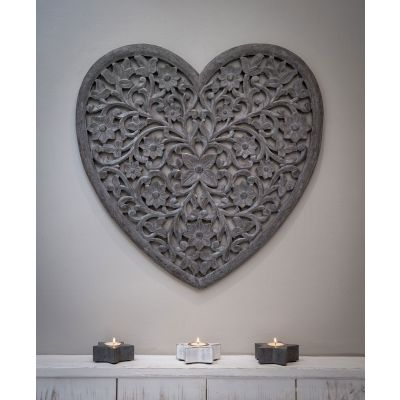 Heart Grey Carved Panel