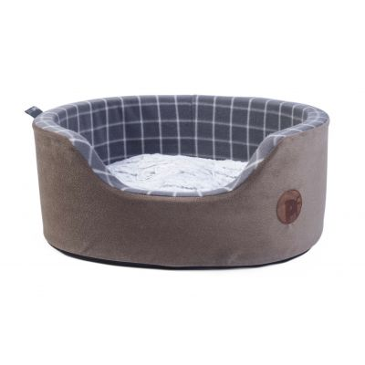 Grey Check Oval Pet Bed