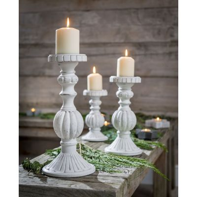 Fancy White Wood Candle Stick