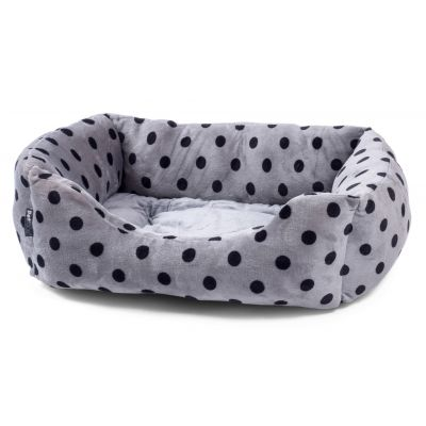Grey Plush Square Pet Bed
