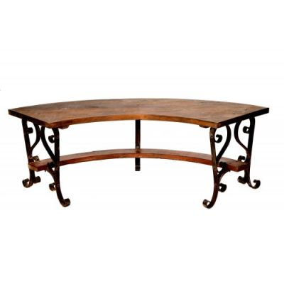 Curved Wrought Iron and Wood Kadai Bench