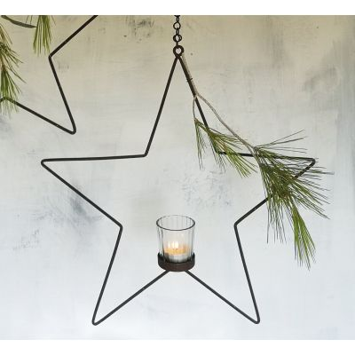 Hanging Florists Star with Votive & Chain