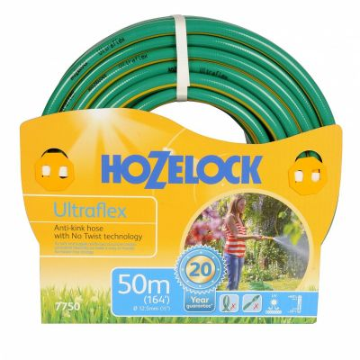 50M Ultraflex Hose Pipe Coiled up with Branded Packaging and has a White Background