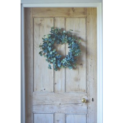 White Flower and Eucalyptus Wreath 55cm