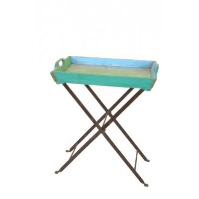 Recycled Teak Tray Table with Stand